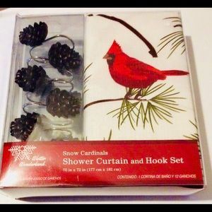 Christmas Shower Curtain and Hooks Snow Cardinal